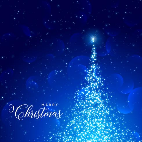 fond bleu brillant avec arbre paillettes