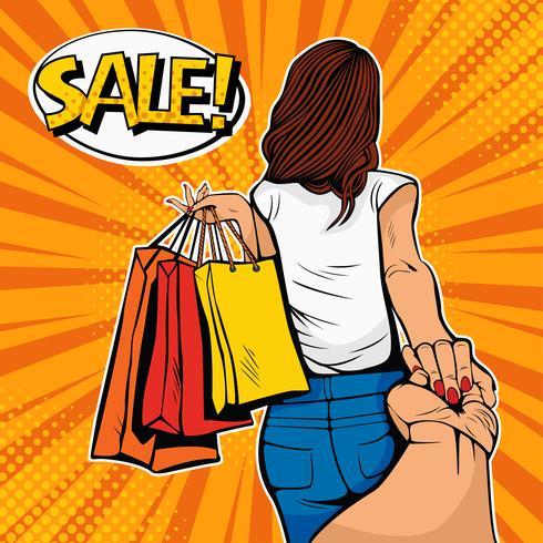 Folge mir Konzept. Junge Frau führt einen Mann einkaufen. Rabatte und Verkauf. Retro Artillustration der Pop-Art in der komischen Art