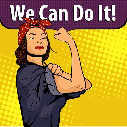 Il simbolo sexy della donna forte di arte di schiocco dei diritti femminili della donna di potere protesta il femminismo. Vector l'illustrazione variopinta di arte di schiocco nel retro stile comico. Possiamo farlo poster.