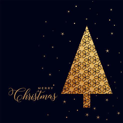 Beautiful Decorative Golden Christmas Tree On Black Background