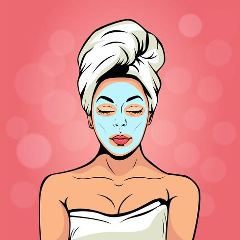 Giovane donna sexy in telo da bagno con maschera cosmetica sul viso. Sfondo colorato vettoriale in stile fumetto comico retrò. Volto femminile sorridente e rilassante.