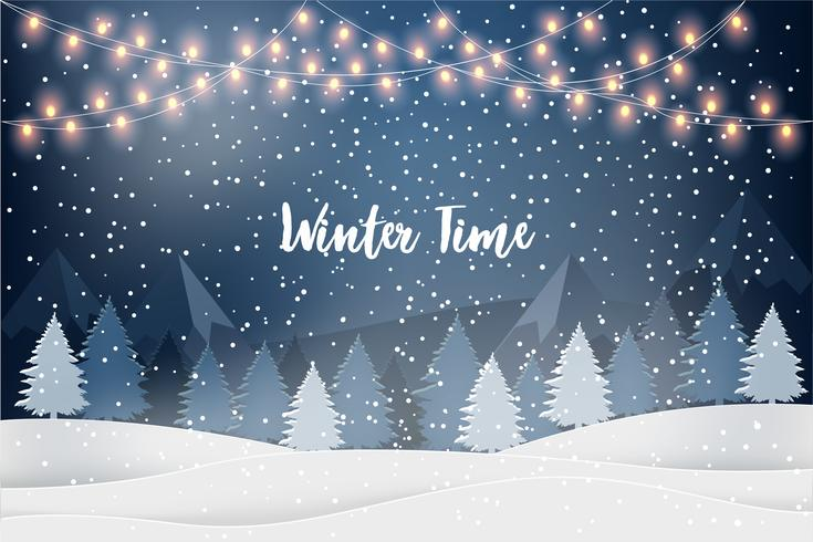 Winter Time. Holiday winter landscape for new year holidays with firs, light garlands, falling snow. Christmas vector background.