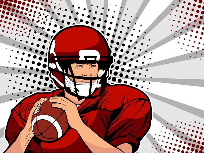 Amerikanischer Fußballathlet. Sportspiel. Die amerikanische Fußballmeisterschaft. Fußball-Pokal Liga. Vektorillustration in der Retro- komischen Art der Pop-Art.