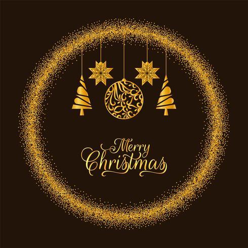 Goldener Funkelnhintergrund der frohen Weihnachten