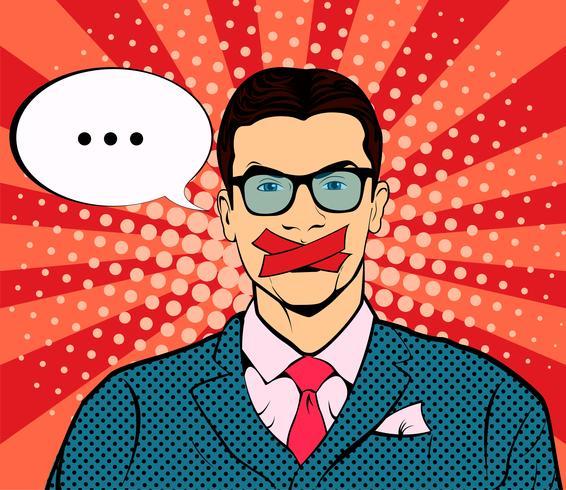 Man med tejpad mun pop art retro vektor. Censur och yttrandefrihet. Politik och mänskliga rättigheter