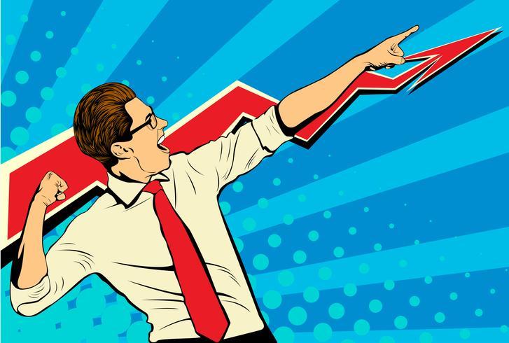 Hombre de negocios del éxito de negocio que muestra el top del gráfico y que grita con alegría. Ilustración de vector de arte pop de estilo retro. Hombre adulto blanco caucásico