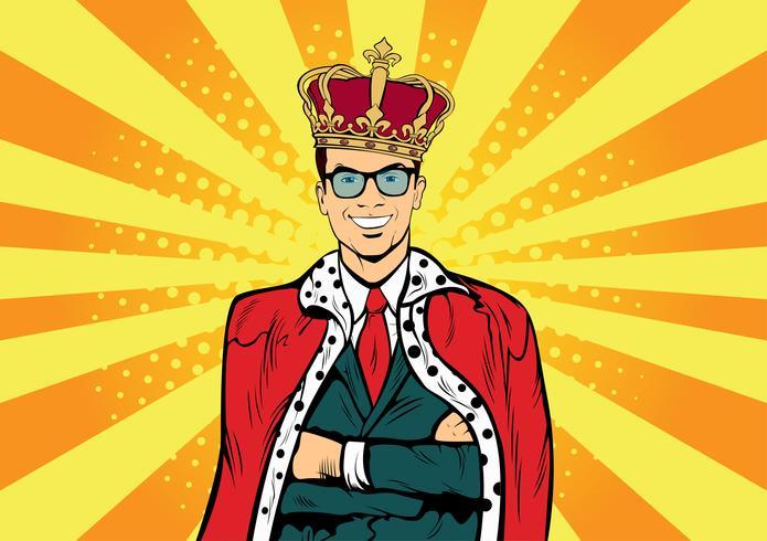 Business King. Affärsman med krona. Man ledare, framgång chef, mänskliga ego. Retro popkonst komisk drunk vektor illustration.