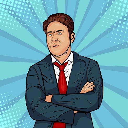 Un homme caucasien sombre fronce les sourcils, regardant vers le haut, les lèvres boudeuses, fatigué L'homme exprime la contrariété et l'insatisfaction. Illustration de style bande dessinée rétro pop art. Meme internet