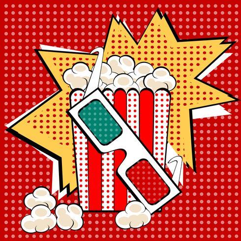 Estilo retro do pop art doce e saboroso do popcorn da pipoca. Fast food no cinema. Alimentos saudáveis e não saudáveis. Infância e entretenimento vetor
