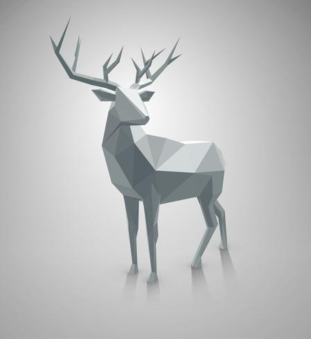 Low poly deer, with space for text. vector