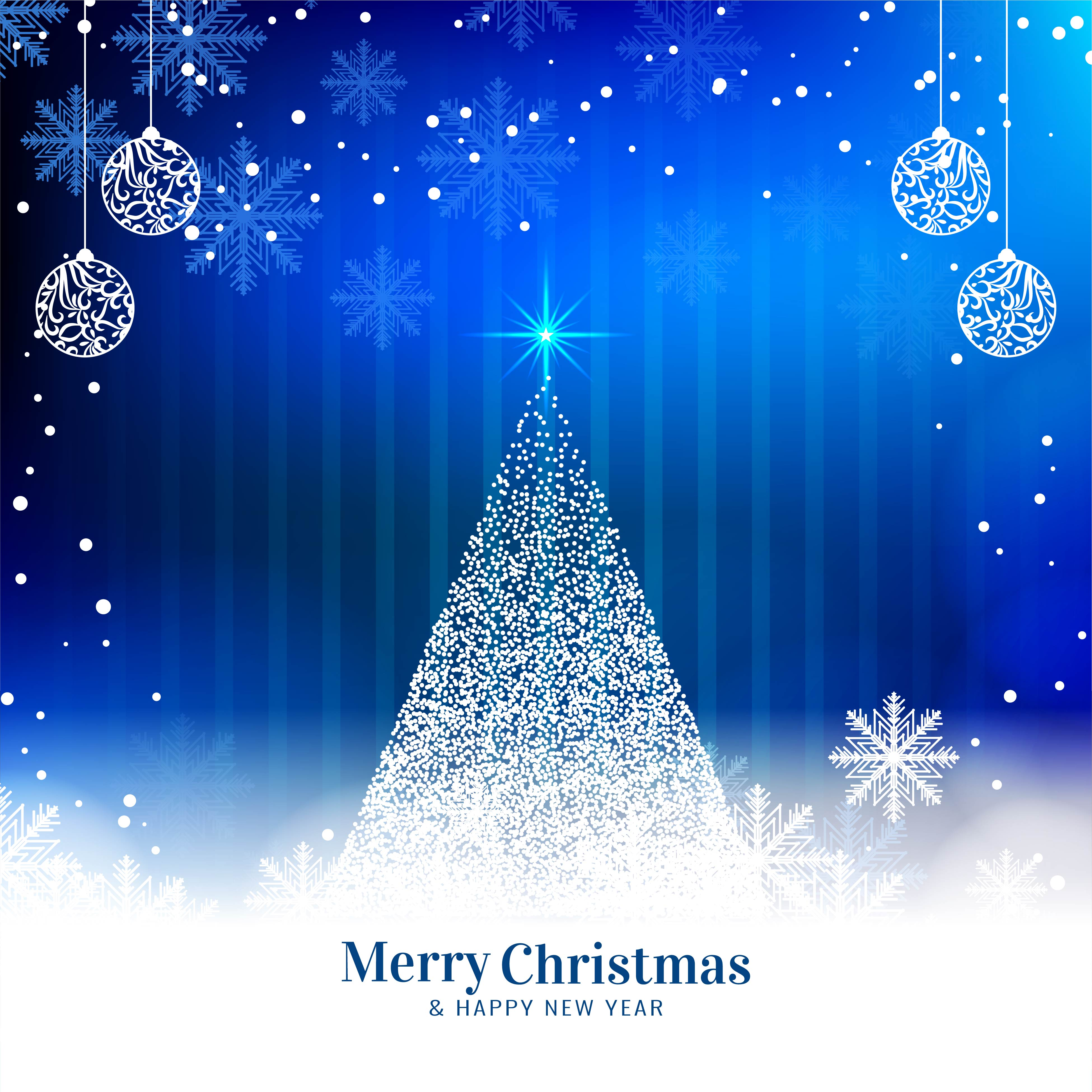 Blue Christmas Tree Wallpaper: Abstract Merry Christmas Blue Background