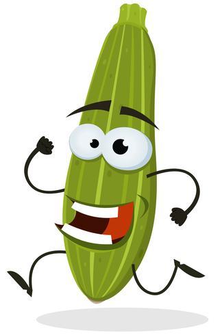 Tecknad Glad Zucchini Tecken vektor