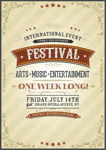 Cartel del festival del vintage vector