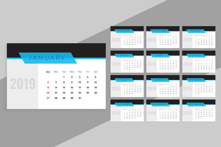 plantilla de calendario azul limpio 2019
