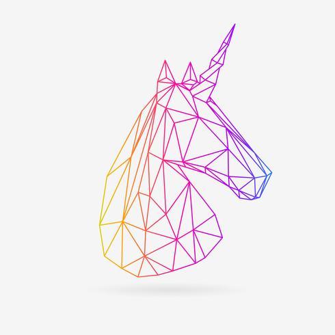 Vector ilustración poligonal del unicornio.