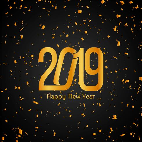 Happy New Year 2019 golden confetti background vector