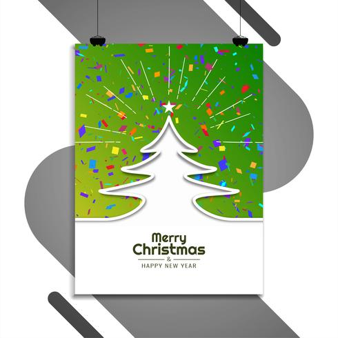 Abstract Merry Christmas brochure template vector