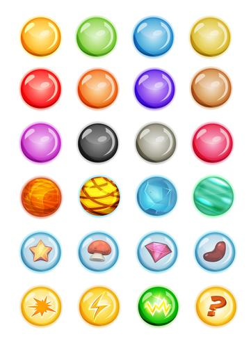 Satz Blasen und magische Kugeln für Spiel Ui