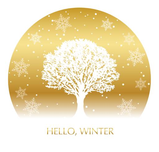 Circle winter background with a snow-covered tree and text space.