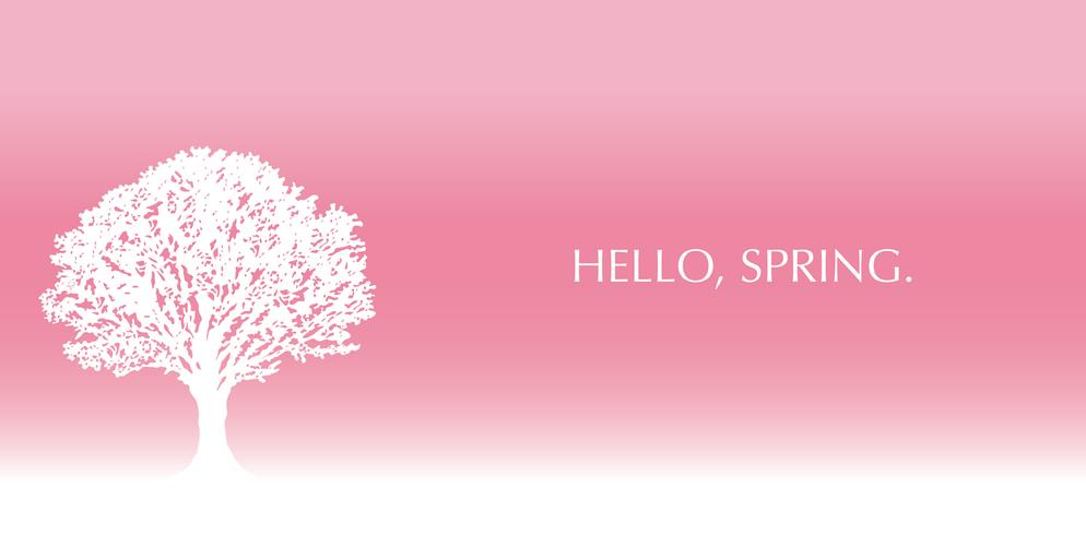 Bright pink background with a tree silhouette and text space.