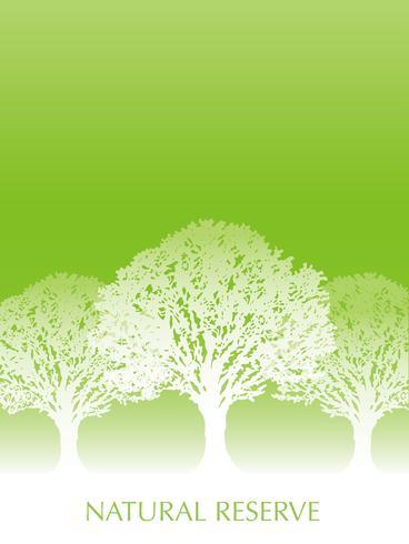 Priorità bassa verde fresca con la siluetta dell'albero e lo spazio del testo.