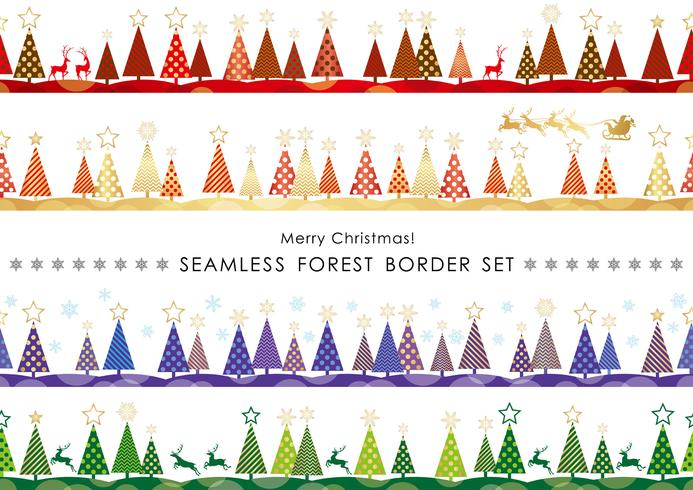 Set of Christmas seamless forest borders.