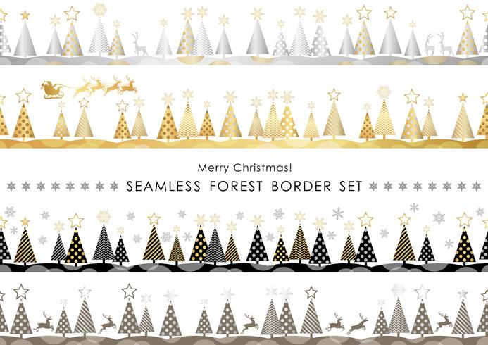 Set of Christmas seamless forest borders. vector