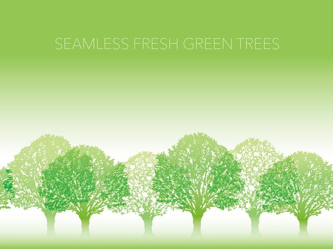 Sömlös rad med färska gröna träd med textutrymme. vektor