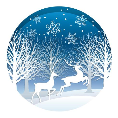 Illustrazione rotonda di Natale con foresta e renne.