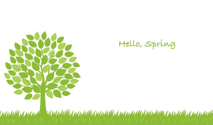Seamless springtime vector illustration with a tree, grassy field, and text space.