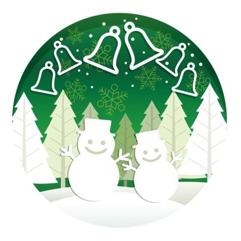 Christmas round illustration with forest, snowmen, and bells. vector
