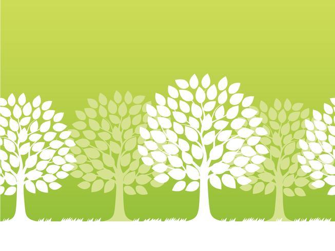 Seamless vector springtime trees illustration.
