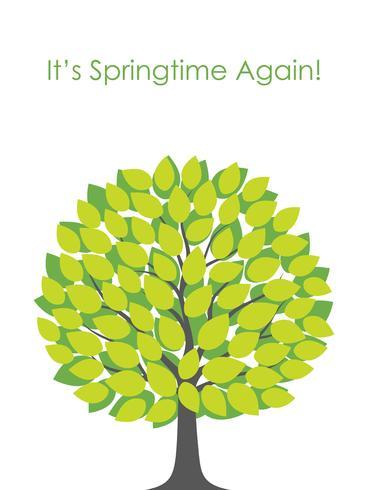Springtime träd vektor illustration med text utrymme.