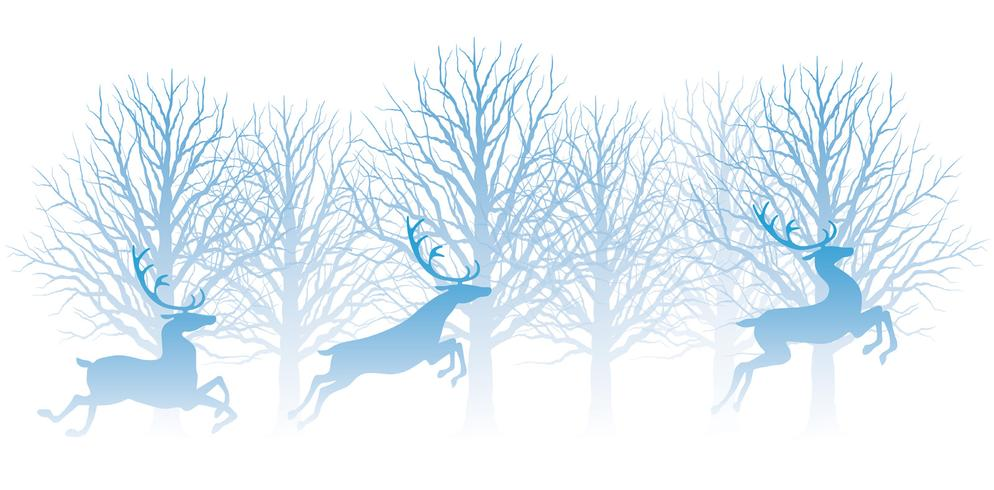 Illustrazione di Natale con foresta e renne.