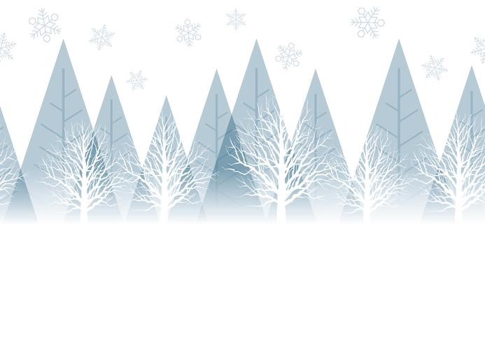 Seamless winter forest background with text space, vector illustration.