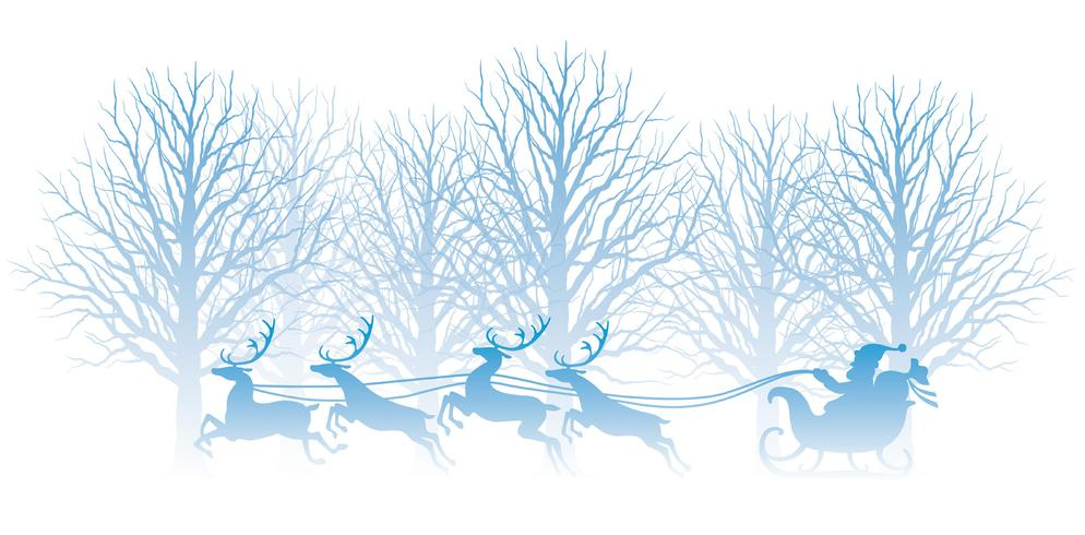 Ilustração de Natal com floresta, Papai Noel e renas.