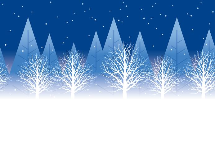 Naadloze de winter bosachtergrond bij nacht met tekst ruimte, vectorillustratie.