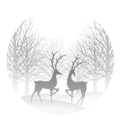 Julrunda illustration med skog och ren. vektor