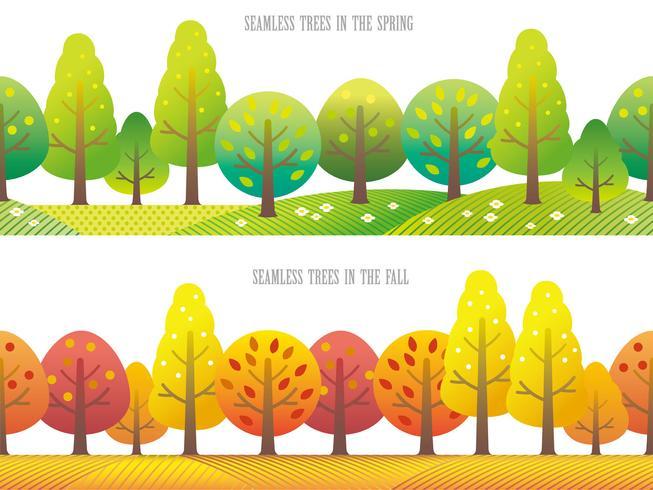 Set med två sömlösa skog vektor illustration.