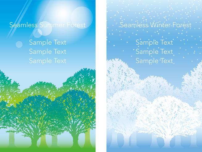 Set med två vektor sömlösa skogsillustrationer.