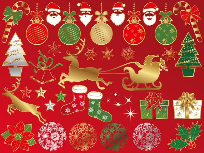 Set of assorted Christmas graphic elements. vector