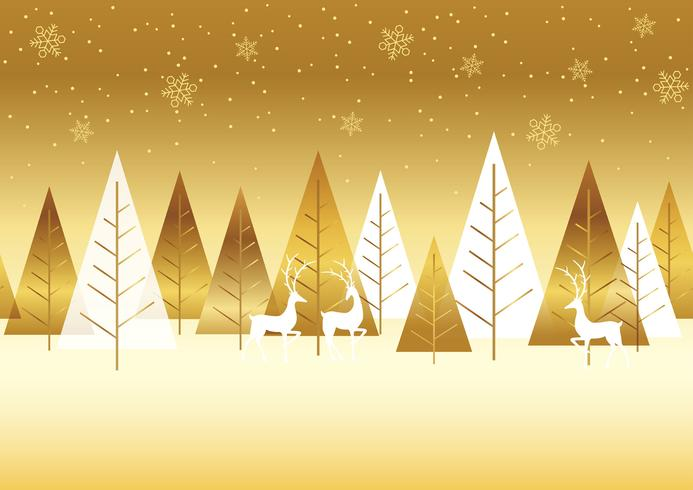 Seamless winter forest background with reindeers. vector