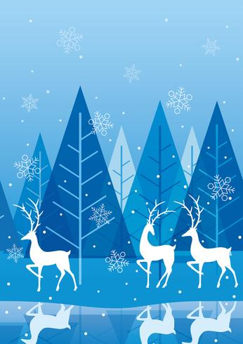 Seamless winter forest background with reindeer. vector