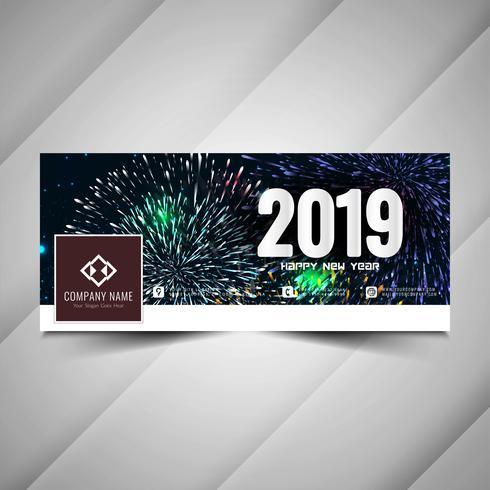 Nuovo anno 2019 elegante design dei social media banner