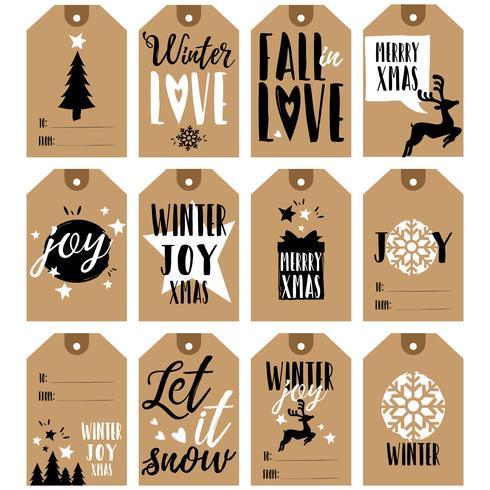 Colección de etiquetas de regalo. Etiquetas de regalo de navidad y año nuevo.