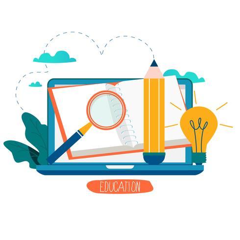 Educación, cursos de capacitación en línea, ilustración vectorial educación a distancia vector