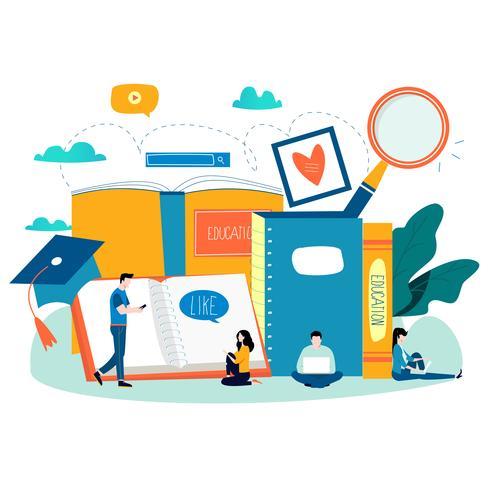 Educación, cursos de capacitación en línea, ilustración vectorial plana de educación a distancia