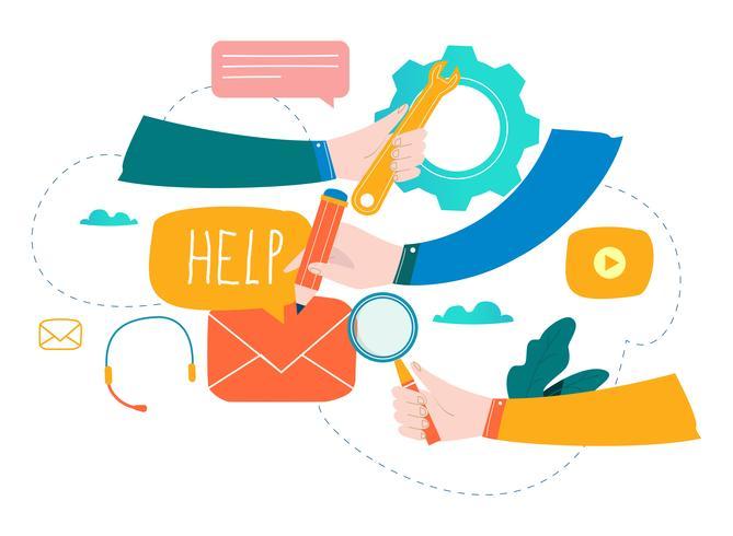Servicio al cliente, asistencia al cliente, centro de llamadas ilustración vectorial plana