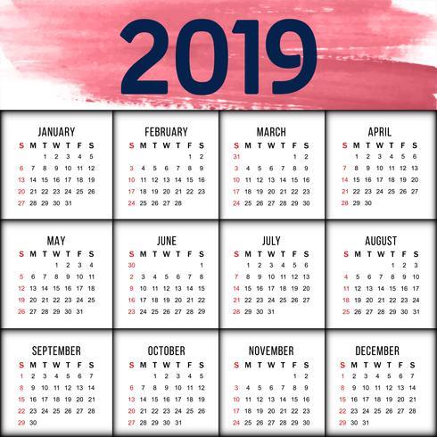 Plantilla de diseño de calendario moderno año nuevo 2019
