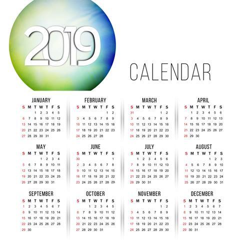 Conception de calendrier coloré abstrait Nouvel An 2019